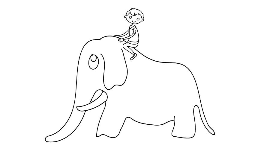 Elefant und Reiter