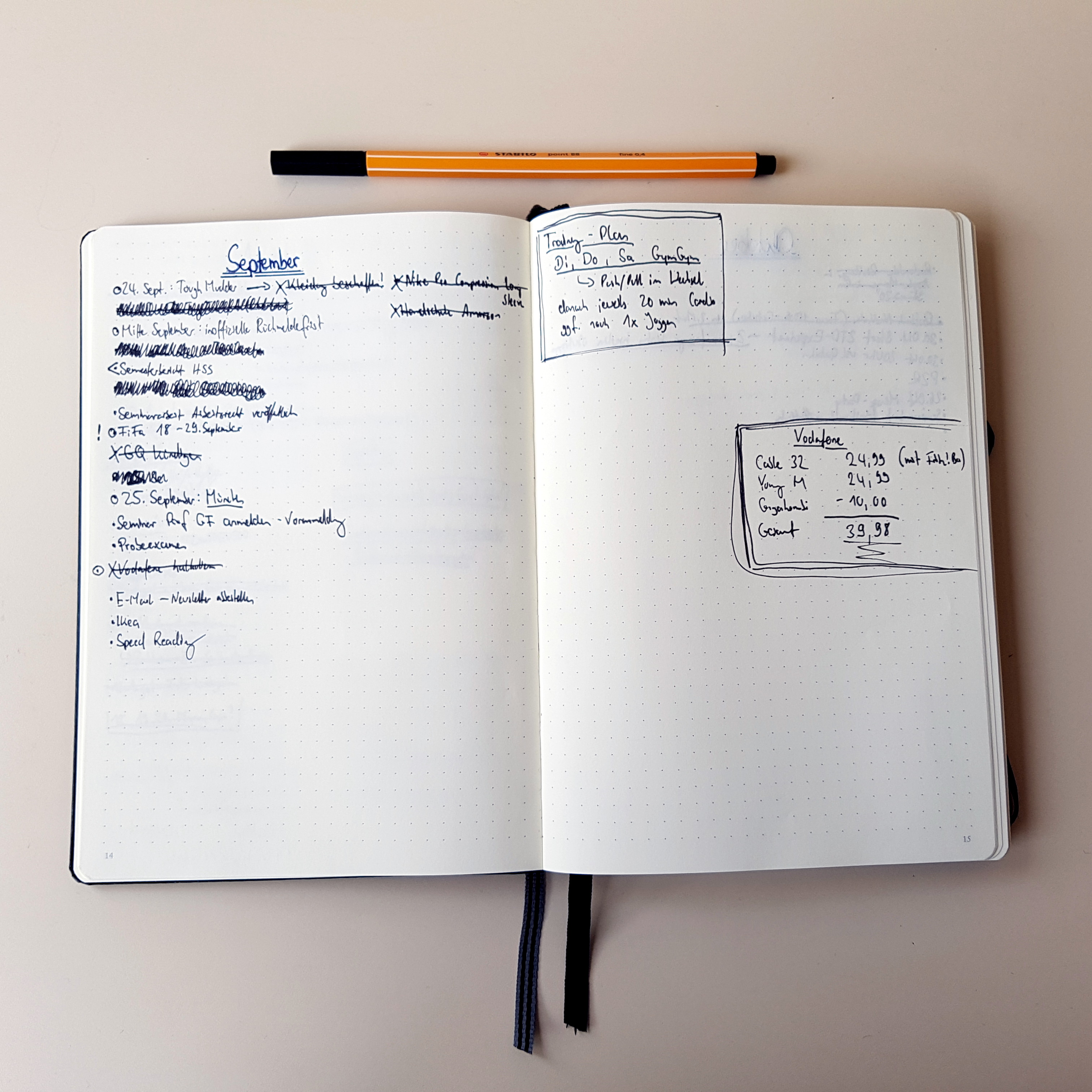 Bullet Journal Experiment Monthly Log